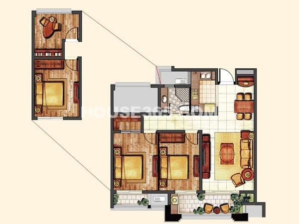 滟香郡庭 2室2厅2卫1厨