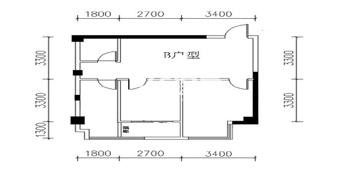金叶新城B户型两室两厅一卫一厨86.50平