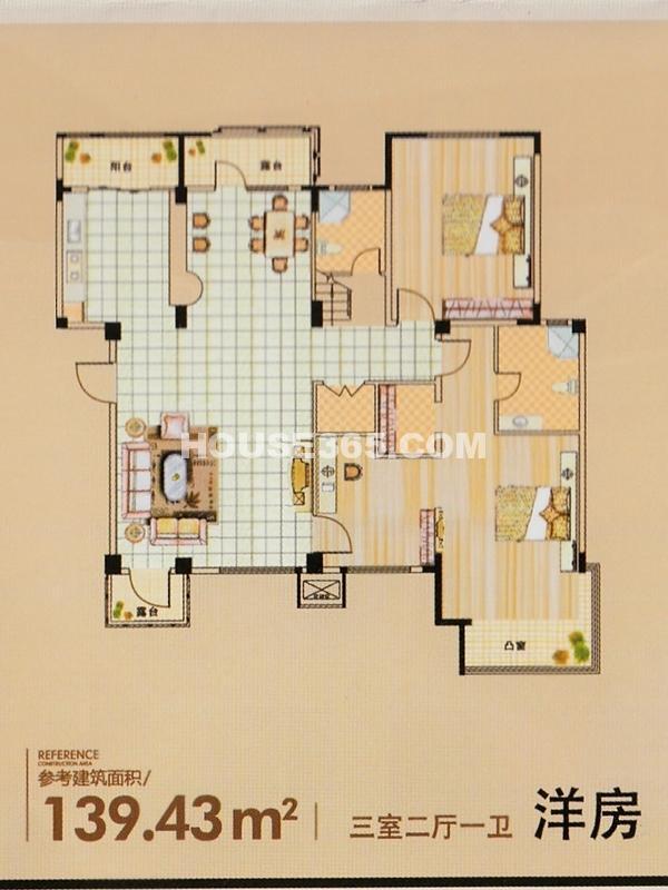 清河湾洋房户型图139.43平米