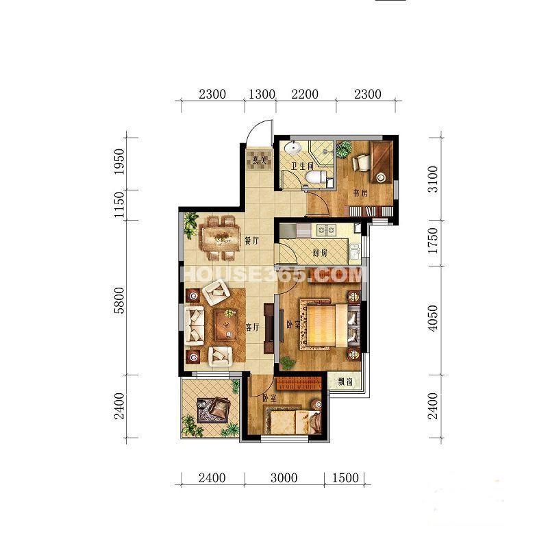华茂中心央府峰境高层3室2厅1卫1厨 89.00㎡