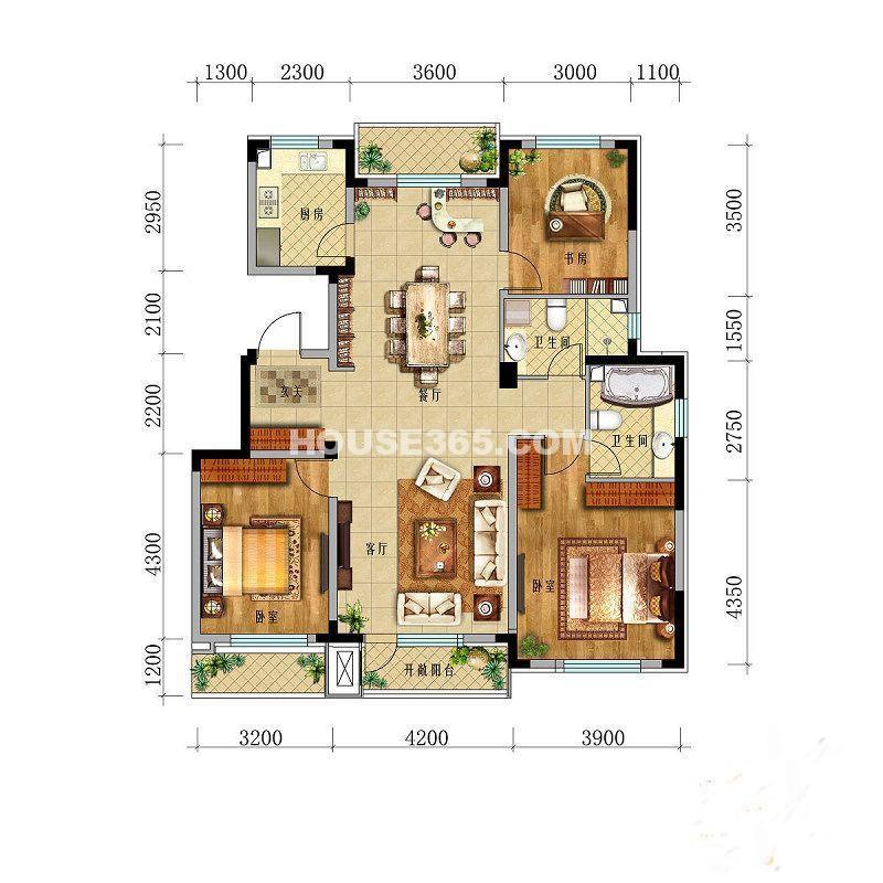 华茂中心央府峰境高层3室2厅2卫1厨 137.00㎡