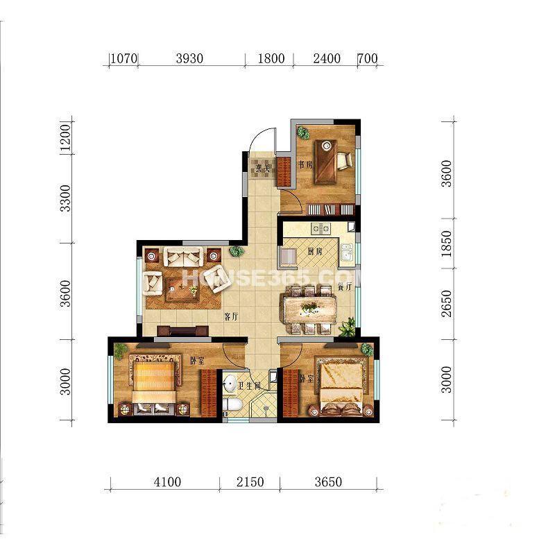 华茂中心央府峰境高层3室2厅1卫1厨 98.00㎡