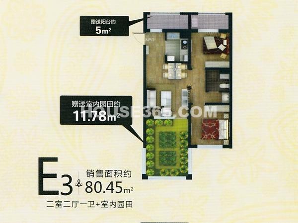 盛世园田居E3户型图80.45平米