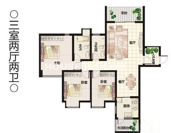 荣华北经城7#楼户型3室2厅1厨2卫 134.00㎡