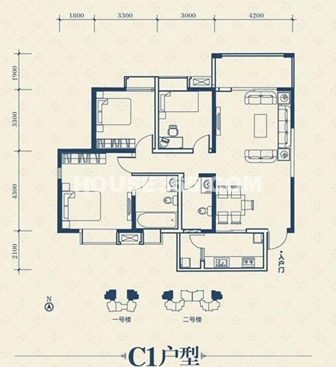 荣华北经城2#楼c1户型3室2厅2卫1厨 125.42㎡