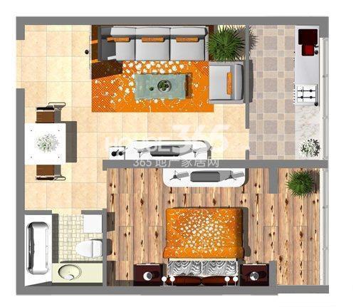 沈阳大学经典1室1厅1厨1卫56㎡ 户型图