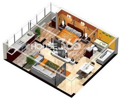 沈阳大学经典1室1厅1厨1卫56㎡户型图