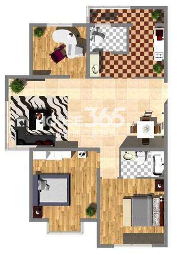 沈阳大学经典3室2厅1厨2卫129㎡户型图
