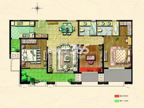 公园里3#楼D3户型 3房2厅2卫