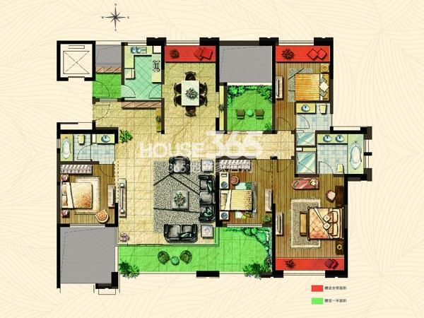 公园里3#楼E1户型 4+1房2厅3卫