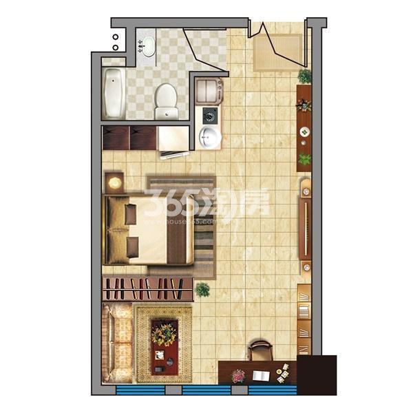 金龙湖广场B-精装湖景soho公寓(49平)