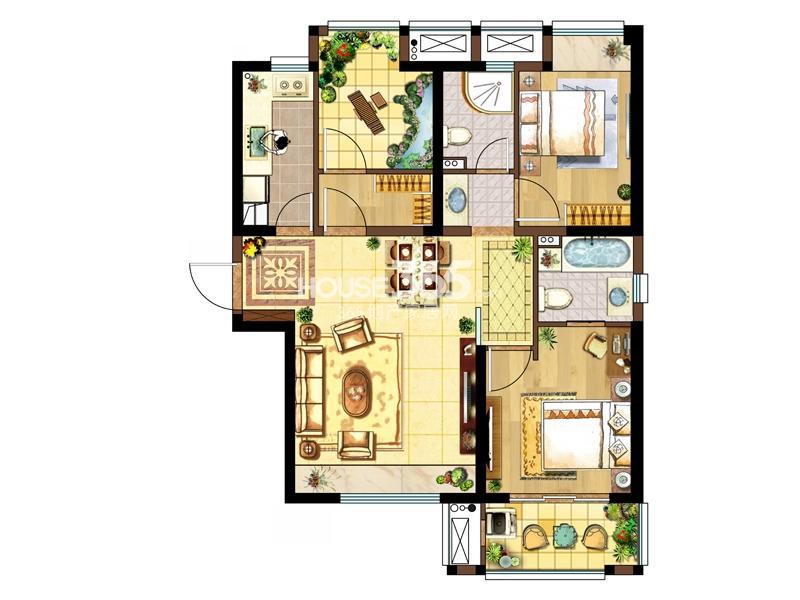 1#标准层右一A户型-两室两厅一厨两卫95.49㎡
