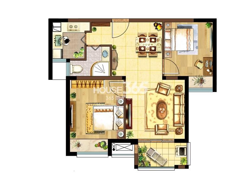1#标准层右二B户型-两室两厅一厨一卫75.87㎡