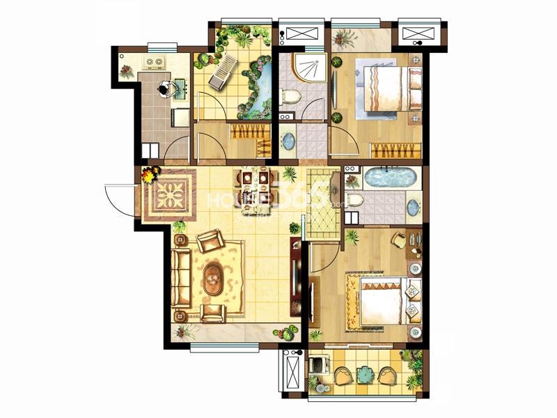 1#标准层左三C户型-两室两厅一厨两卫105.05㎡