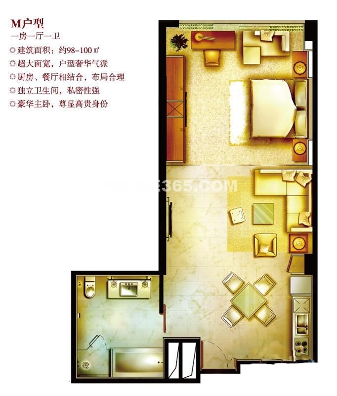 深业姑苏中心M户型 1室2厅1卫1厨98㎡
