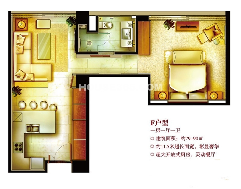 深业姑苏中心F户型 1室1厅1卫1厨90㎡