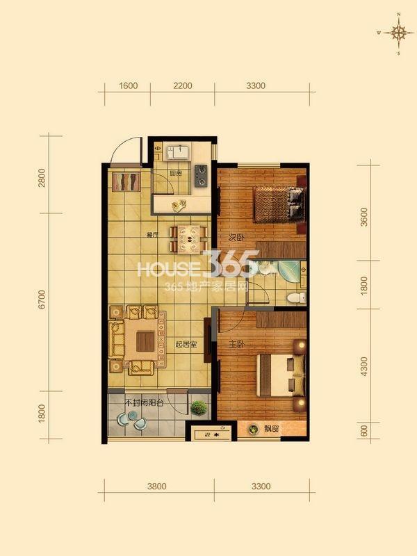 金地滨河国际左岸二室一厅一卫C1户型图88平
