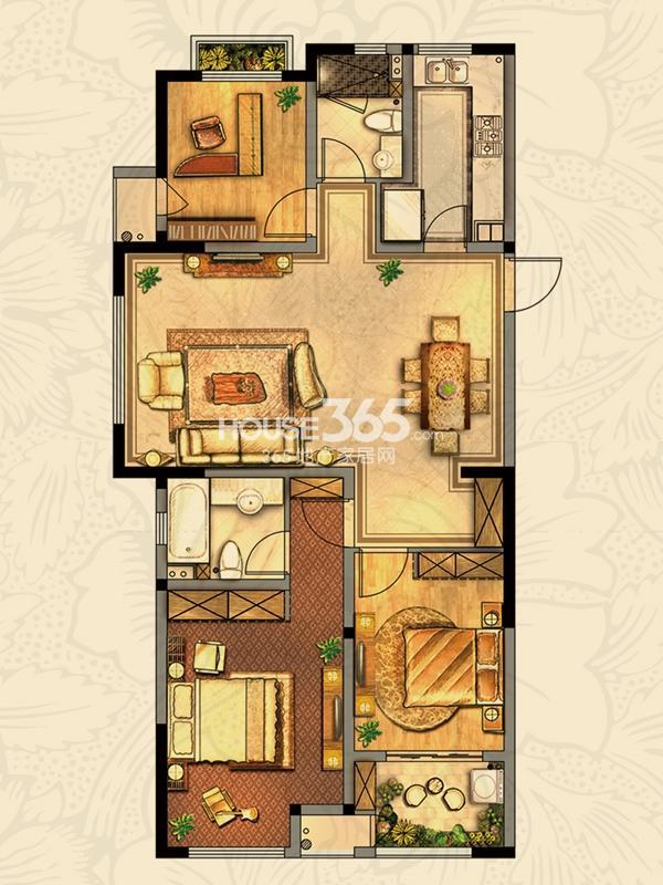 紫罗兰 3室2厅2卫