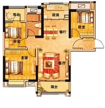 碧桂园欧洲城3室2厅1卫89平方产权房精装