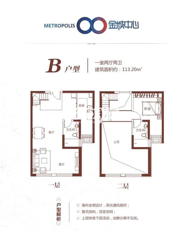 兰州金城中心B户型:一室两厅两卫 建筑面积约113.20㎡