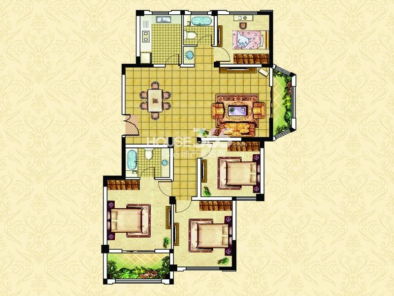 18#23#楼A4户型-四室两厅两卫两阳台约136平