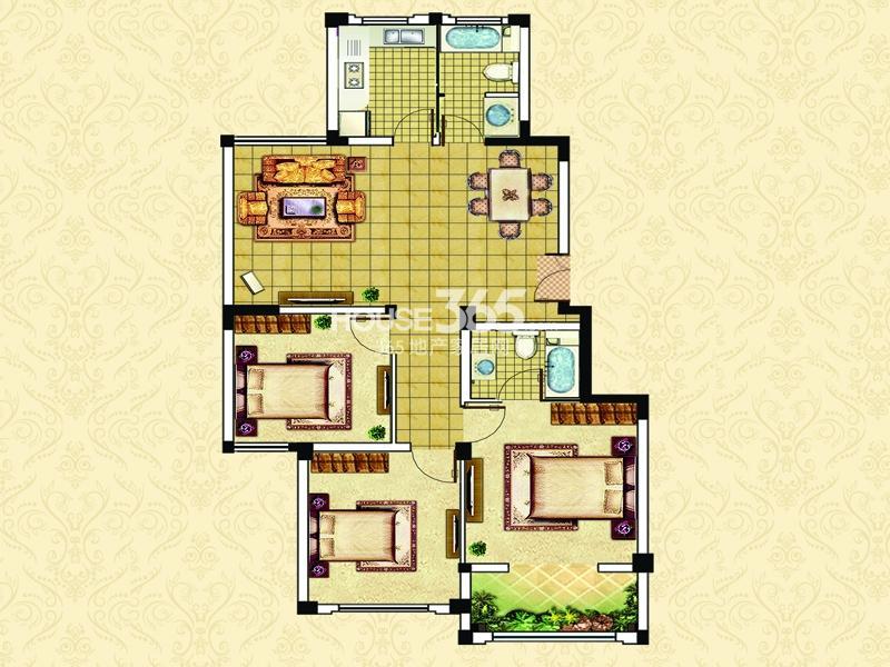 18#23#楼A1户型-三室两厅两卫一阳台 约113平