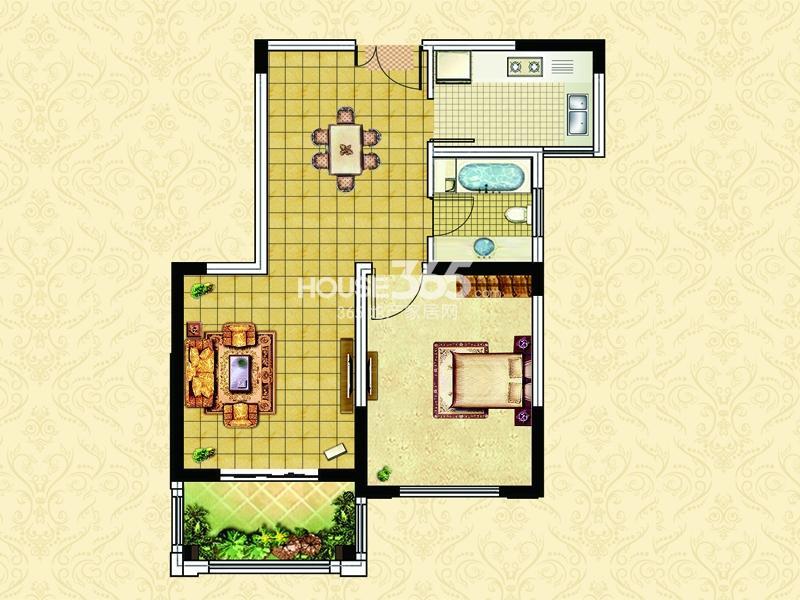 18#23#楼B3户型-一室两厅一卫一阳台 约70平