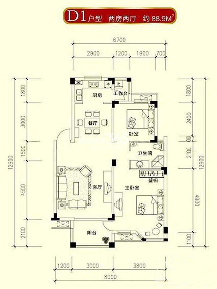 水岸新都花苑89平方米d1户型图(5.10)