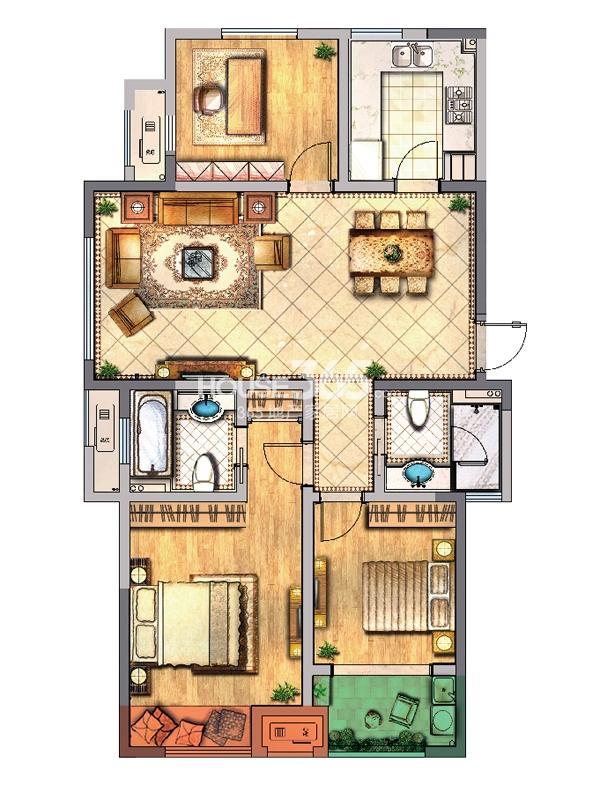 公寓A户型 三房两厅两卫一厨
