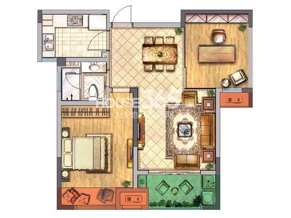 公寓B户型 二房两厅一卫一厨