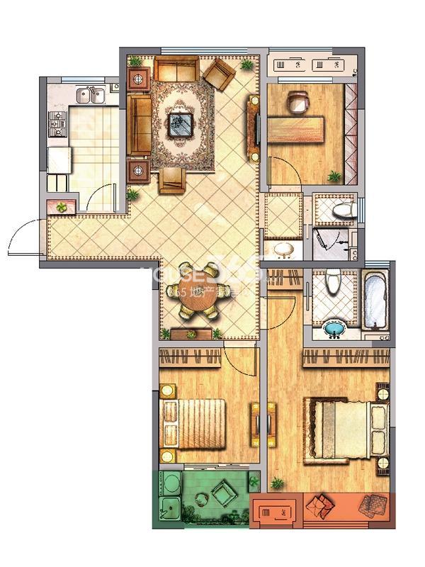 公寓C户型 三房两厅两卫一厨