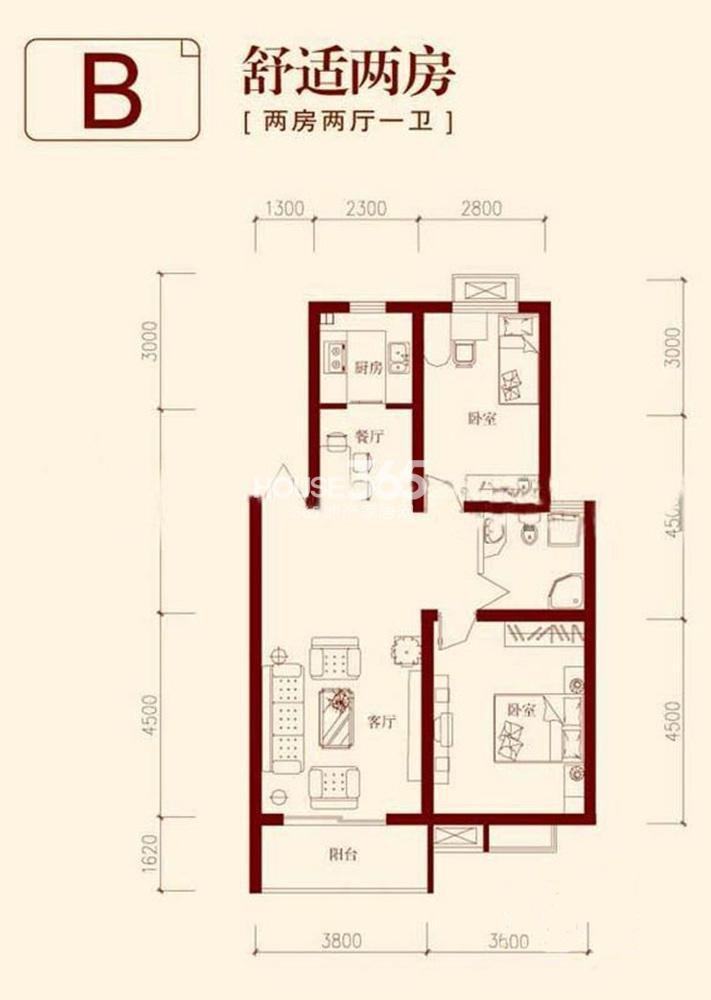 垠领城市街区B户型87.32平方米(5.13)
