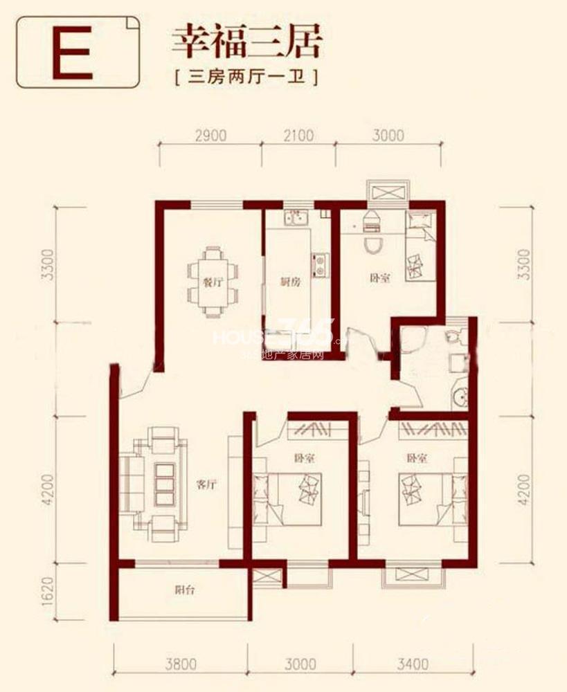 垠领城市街区E户型109平方米(5.13)