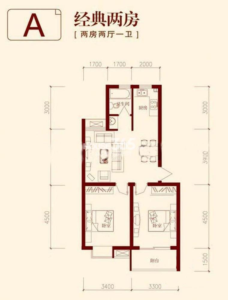 垠领城市街区A户型 74.04平方米(5.13)