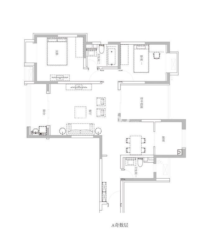 双友新和城奇数层A户型2室2厅2卫1厨 108.00