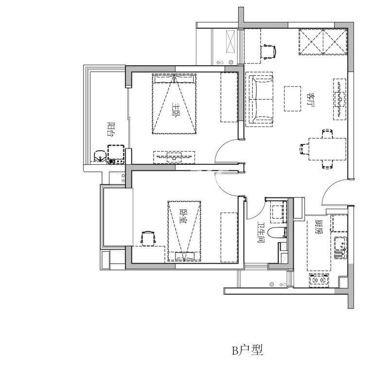 双友新和城B户型两房两厅一卫一厨88平