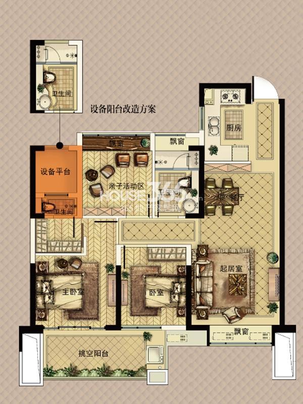 中天官河锦庭1、3、4、5、6号楼E户型 90㎡ 3室2厅2卫