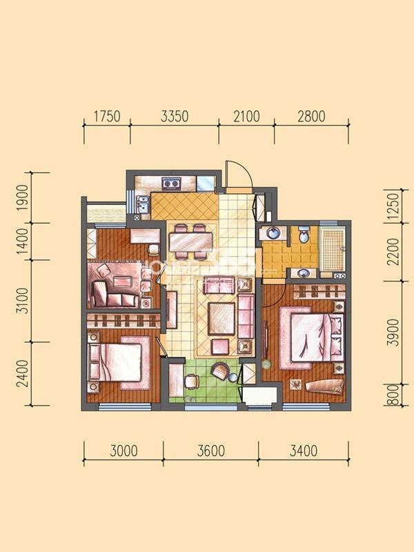 三期O户型-3室2厅1卫1厨-85.00㎡