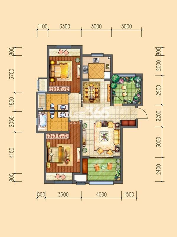 三期P户型-3室2厅2卫1厨-118.00㎡