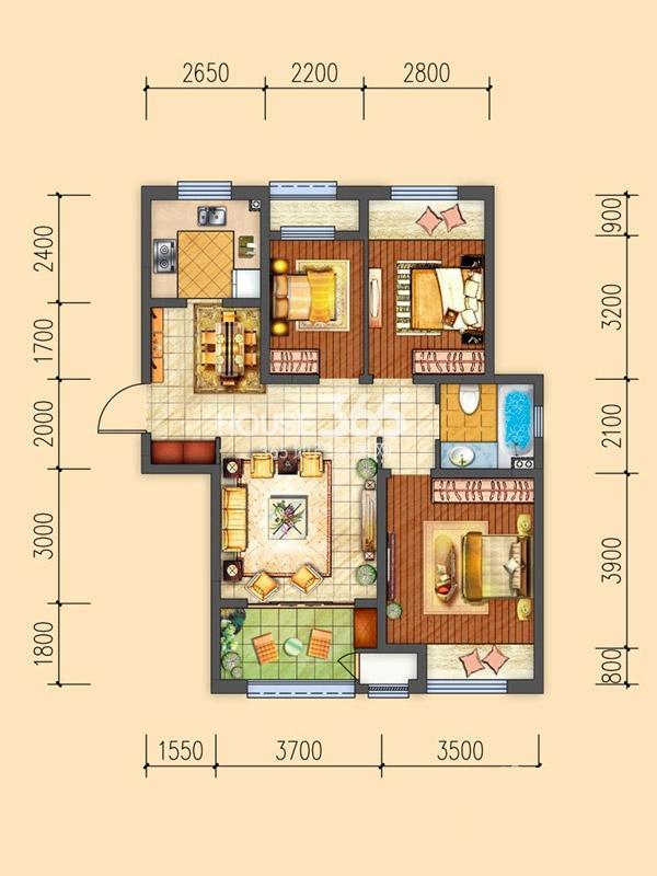 三期D户型-3室2厅1卫1厨-96.00㎡