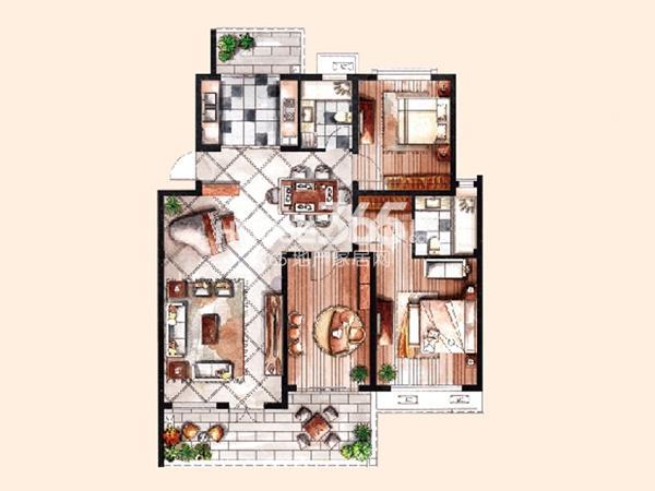 中惠晨曦怡庭多层1#H4户型3室2厅2卫 118.00㎡