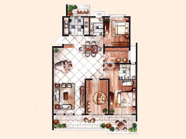 中惠晨曦怡庭多层1#H2户型4室2厅2卫 139.00㎡