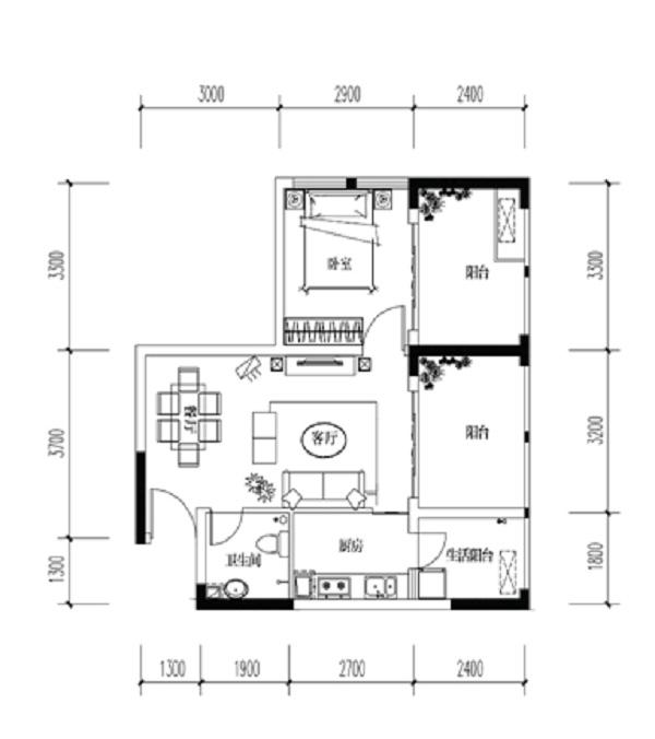 宝嘉花与山一期A1号楼标准层E户型1室2厅1卫1厨 47.04㎡