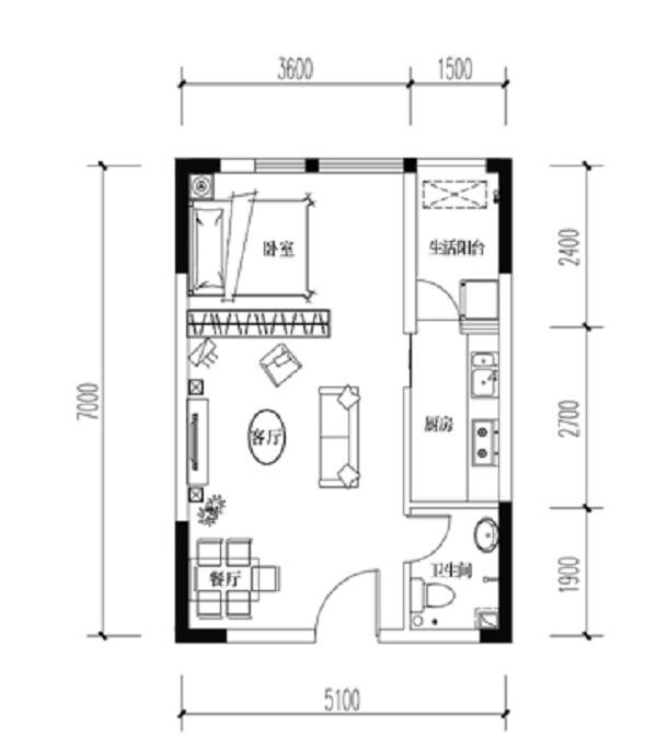 宝嘉花与山一期A1号楼标准层C户型1室2厅1卫1厨 33.71㎡