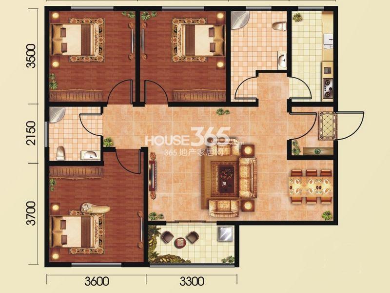和平春天A1 三室2厅2卫1厨 110.10㎡