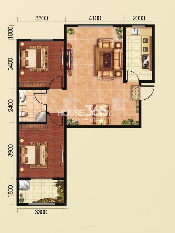 和平春天E2 两室2厅1卫1厨 94.45㎡