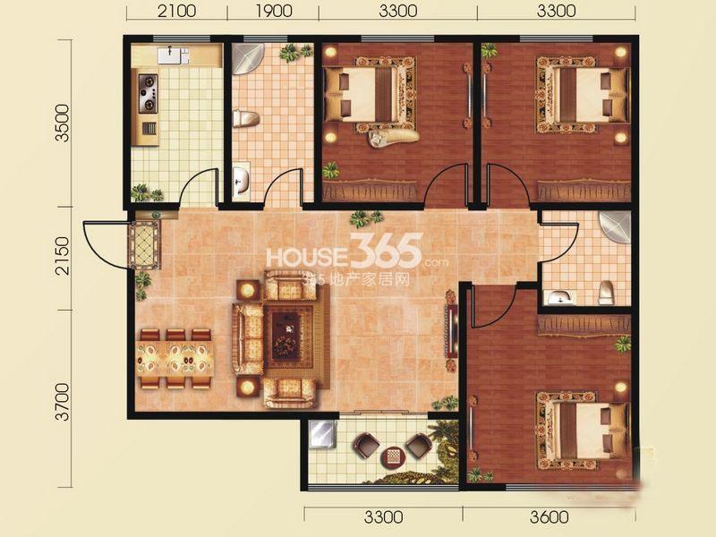和平春天A4 三室2厅2卫1厨 115.68㎡