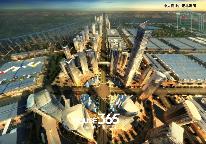 合肥华南城中央商业广场鸟瞰图