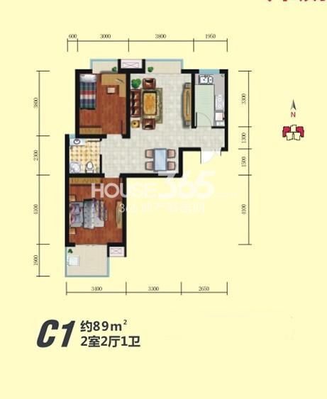 中铁尚都城三期4#楼C1户型 2室2厅1厨1卫 89㎡