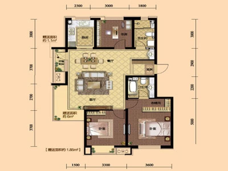 九洲御府411户型图高层-063室2厅2卫1厨 120.00㎡